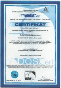 Certifikát 14001:2016